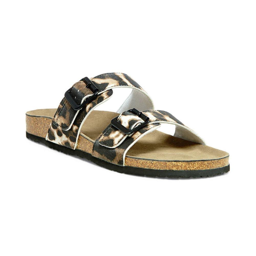 MADDEN GIRL Juniors' Brando Footbed Double Buckle Sandal Leopard - LEOPARD
