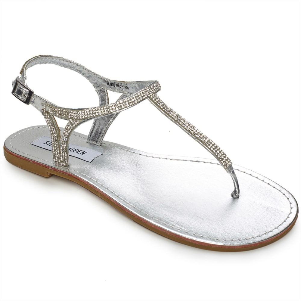 STEVE MADDEN Juniors' Saiige T-Strap Sandals - SILVER