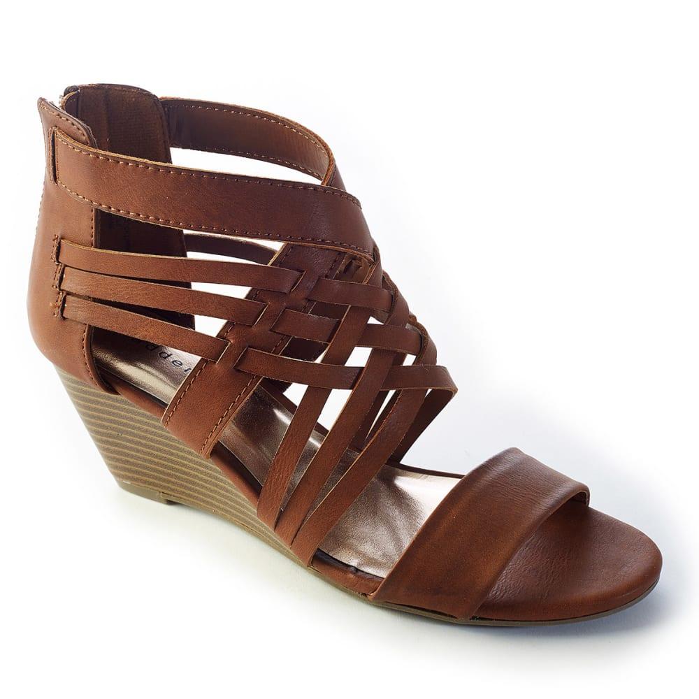 MADDEN GIRL Juniors' Honi Gladiator Wedge Sandals - COGNAC
