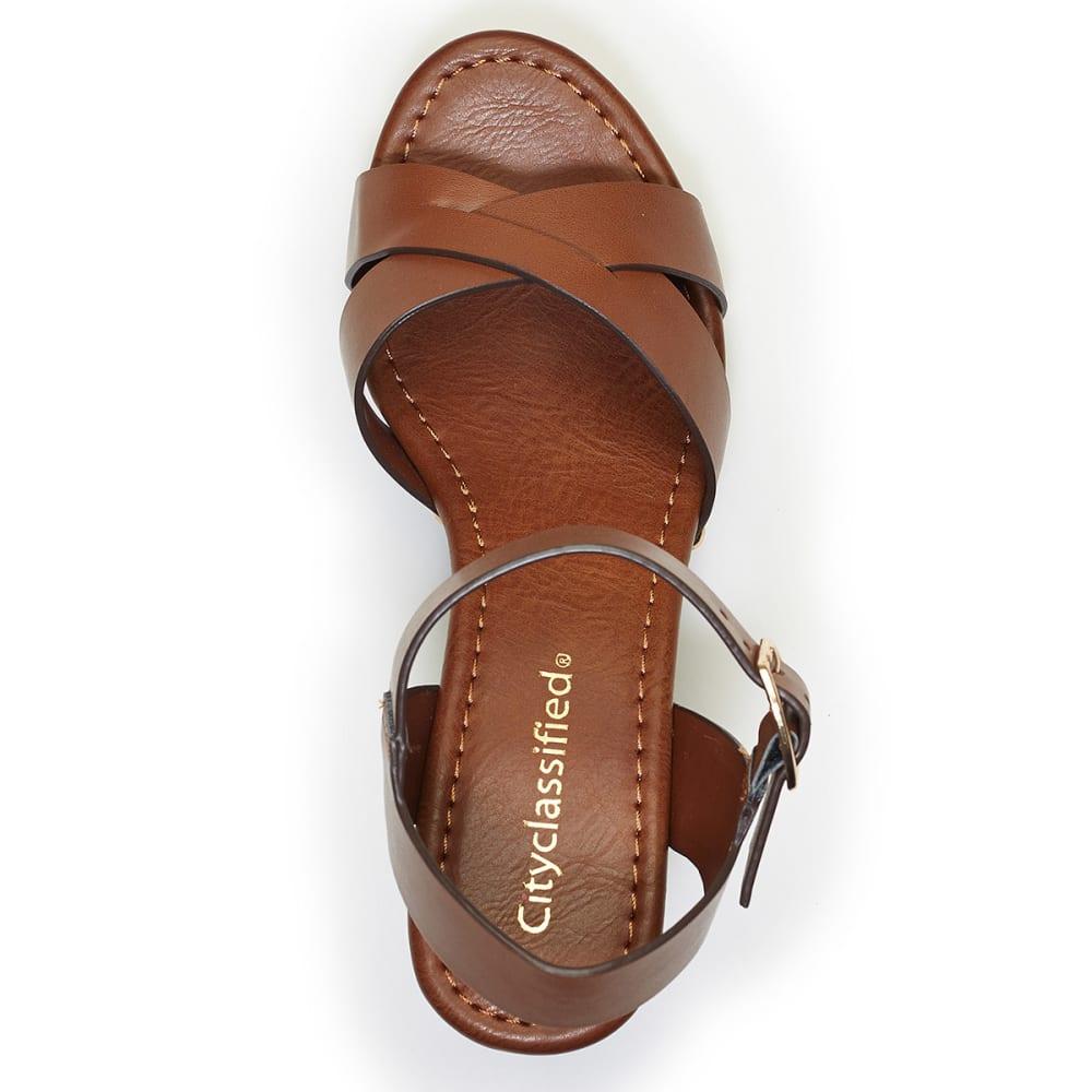 CITYCLASSIFIED Juniors' Klaris Wedge Sandals - DARK TAN
