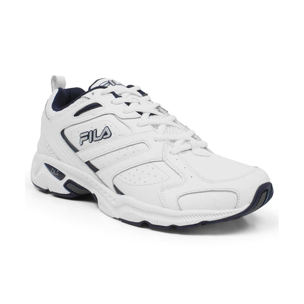 FILA Men's Capture Running Shoes, Medium Width - WHITE/NAVY
