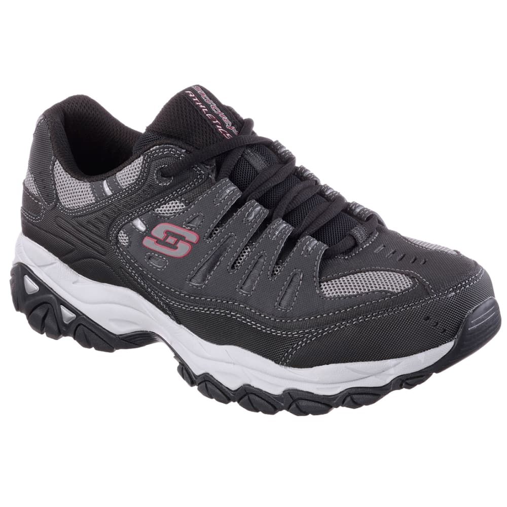 SKECHERS Men's After Burn–Memory Fit Shoes, Extra Wide Width - GREY/RED