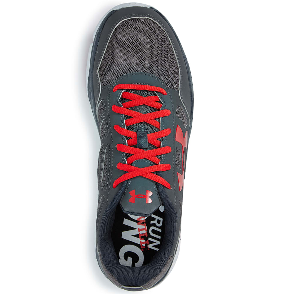 UNDER ARMOUR Men's Engage Big Logo Shoes - CHARC/RED
