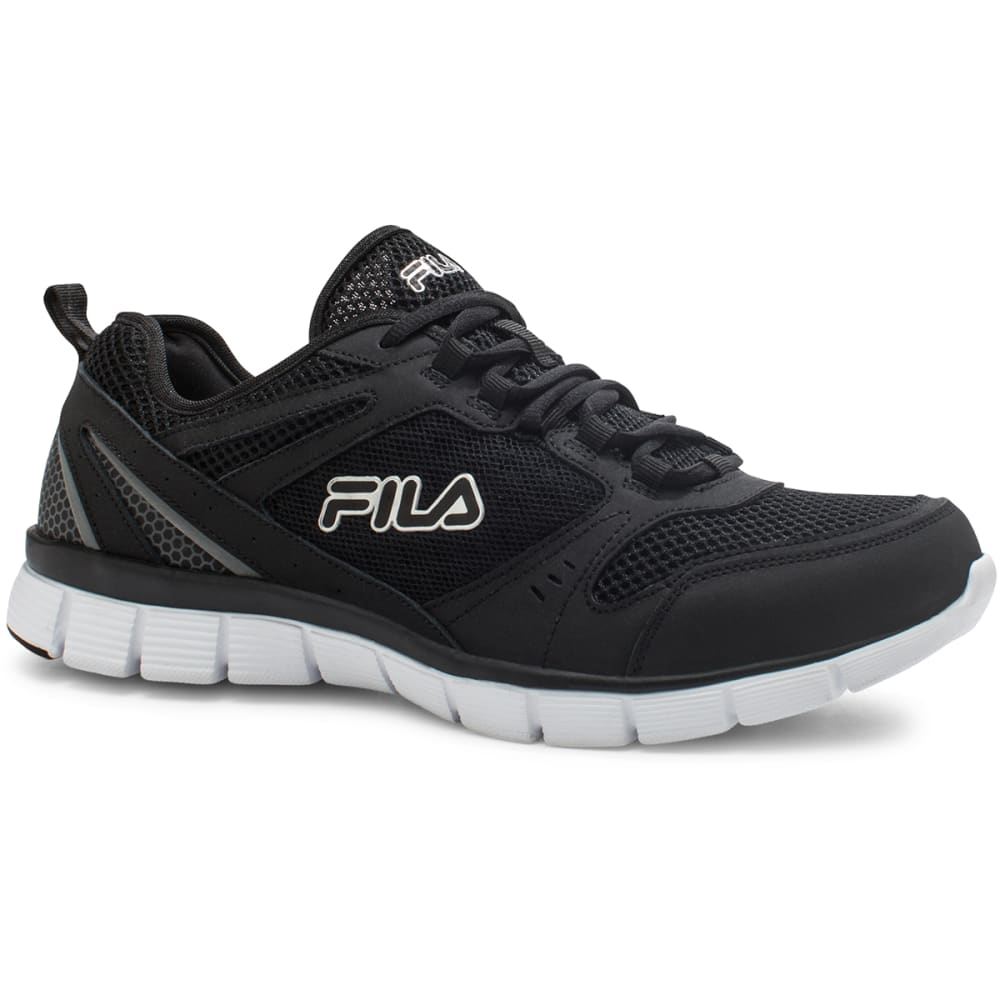 FILA Men's Memory Deluxe SE Running Shoes - BLACK/SCARLETT/WHITE