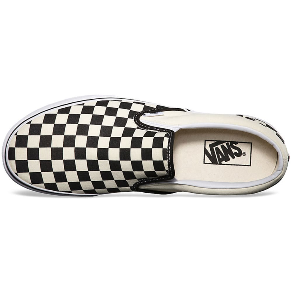 VANS Young Men's Classic Slip On Shoes - BLACK/WHITE