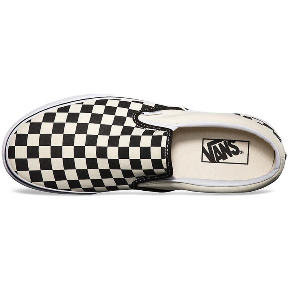 VANS Young Men's Classic Slip On Shoes - BLACK/WHITE