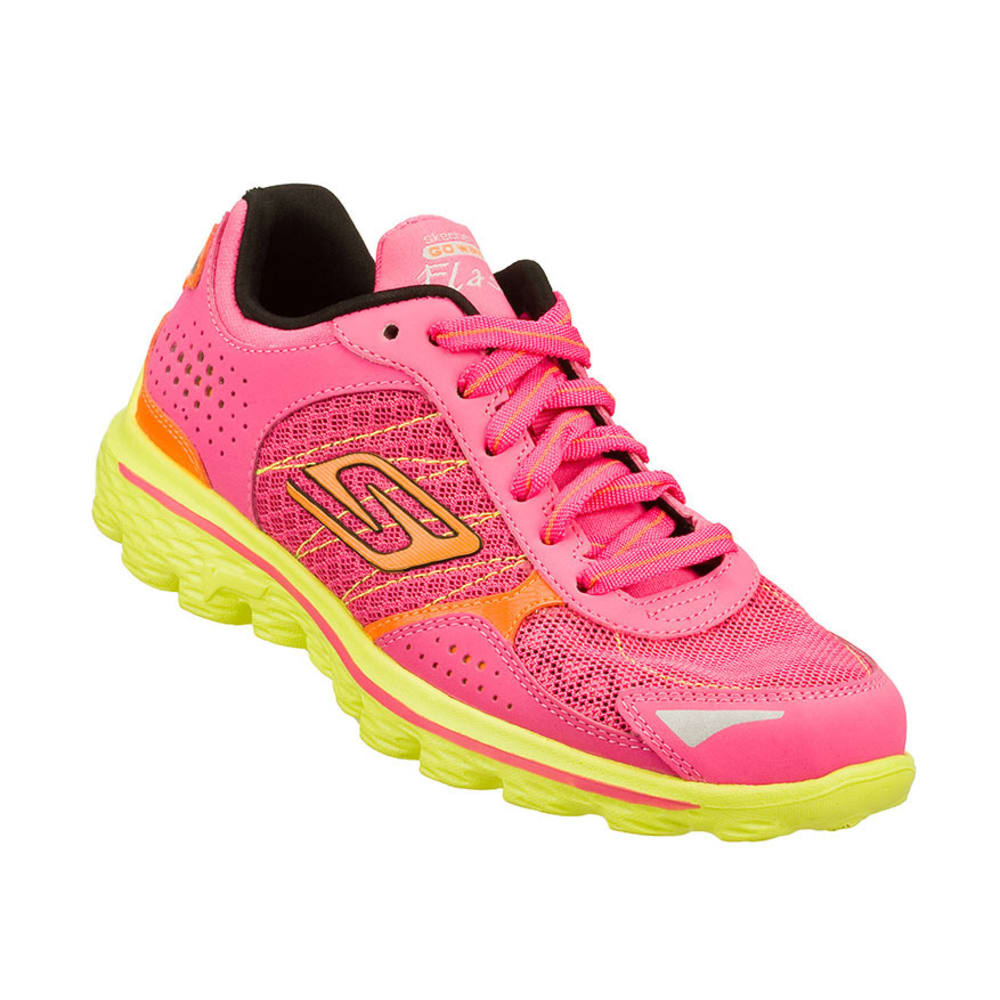 SKECHERS Girls' GoWalk Gogomat Insole Shoes, Hot Pink/Lime, 11-13, 1-3 - HOT PINK