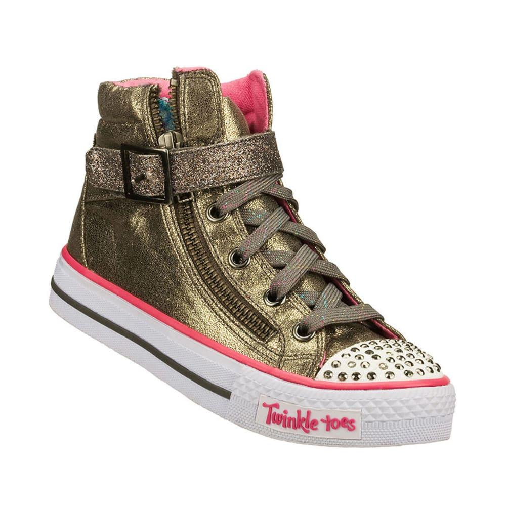 SKECHERS Girls Twinkle Toes: Shuffles – Metallic Shoes, 11-13,1-3 - LIGHT GREY