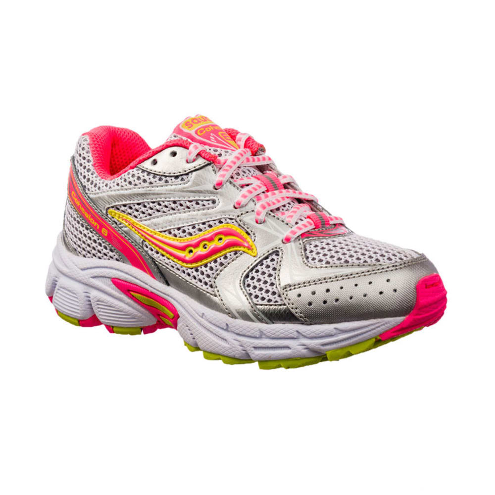 SAUCONY Girls' Cohesion 6 Shoes, Wht/Vizi Pnk/Citr, Sizes 11,12,13,1-3 - HEATHER STONE