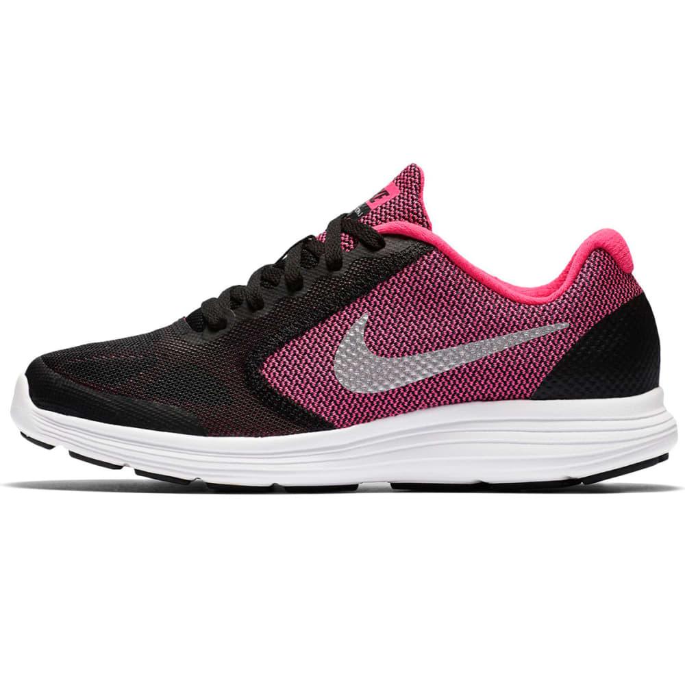 NIKE Girls' Revolution 3 Running Shoes - BLACK/HYPER PINK