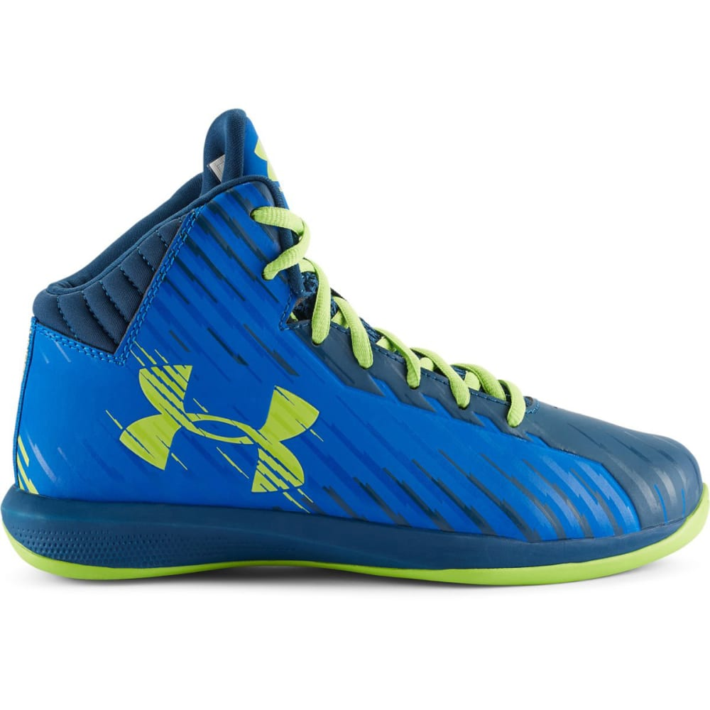 UNDER ARMOUR Boy's Jet Basketball Shoes, 3.5-7 - BLUE