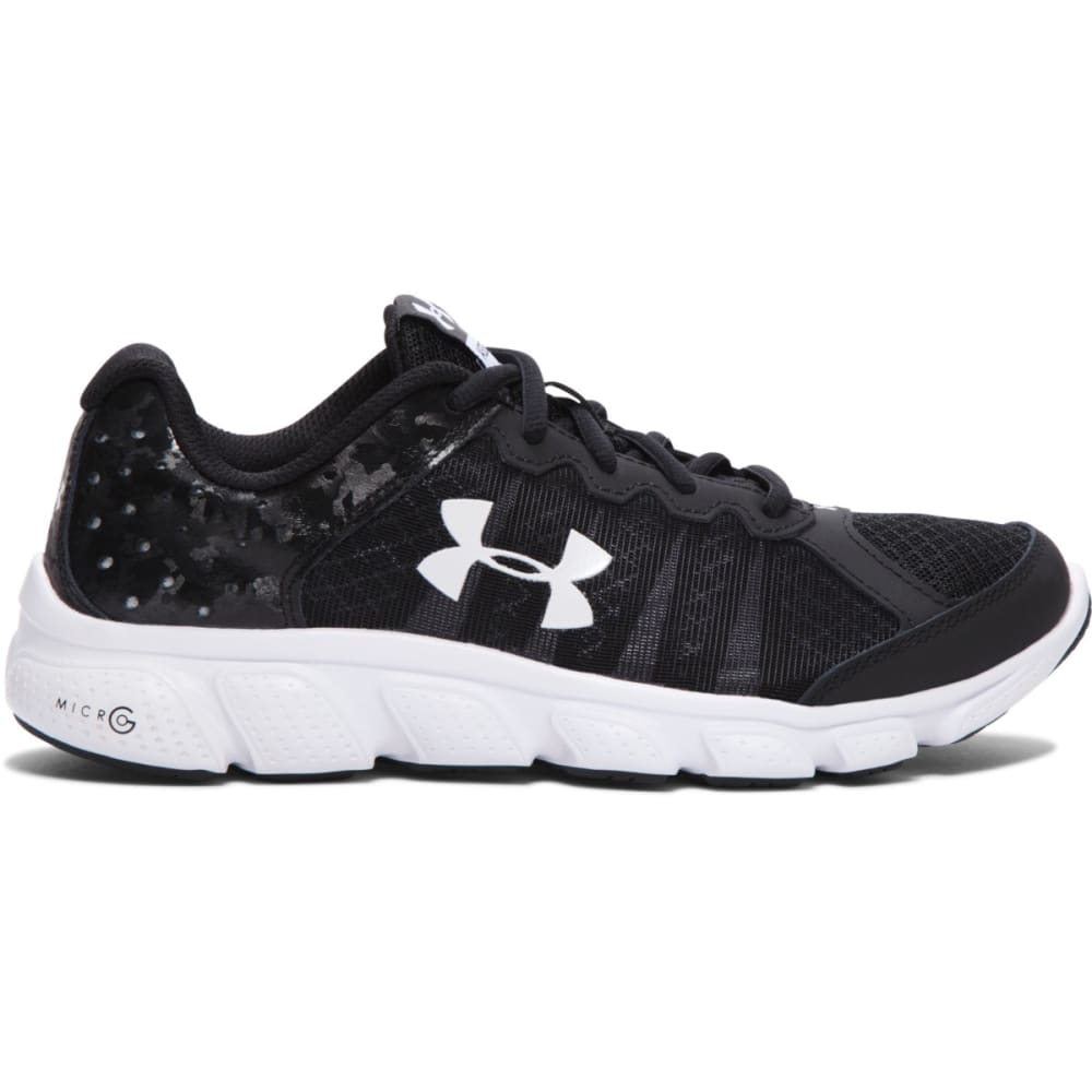 UNDER ARMOUR Boys' Micro G Assert 6 Running Shoes - BLACK/WHITE