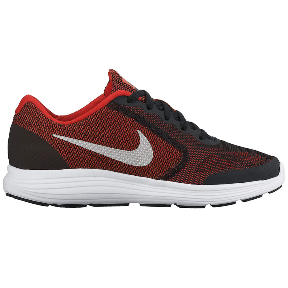 NIKE Big Boys' Revolution 3 Running Shoes, Wide - RED