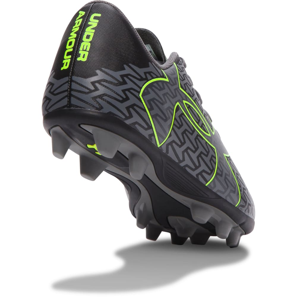 UNDER ARMOUR Boys' ClutchFit™ Force 2.0 HG Jr. Soccer Cleats - BLACK/GRAPHITE/HI VI