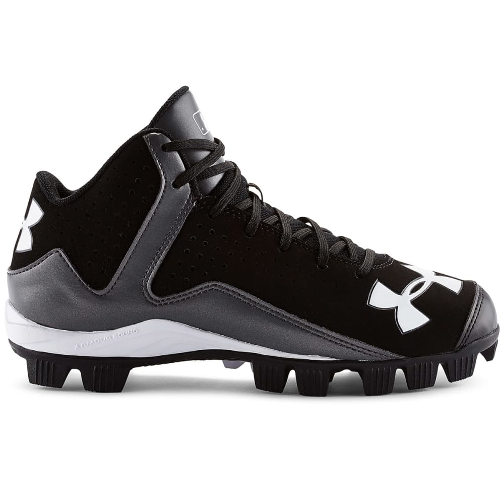 UNDER ARMOUR Boys' Leadoff Mid RM Baseball Cleats - BLACK/WHITE