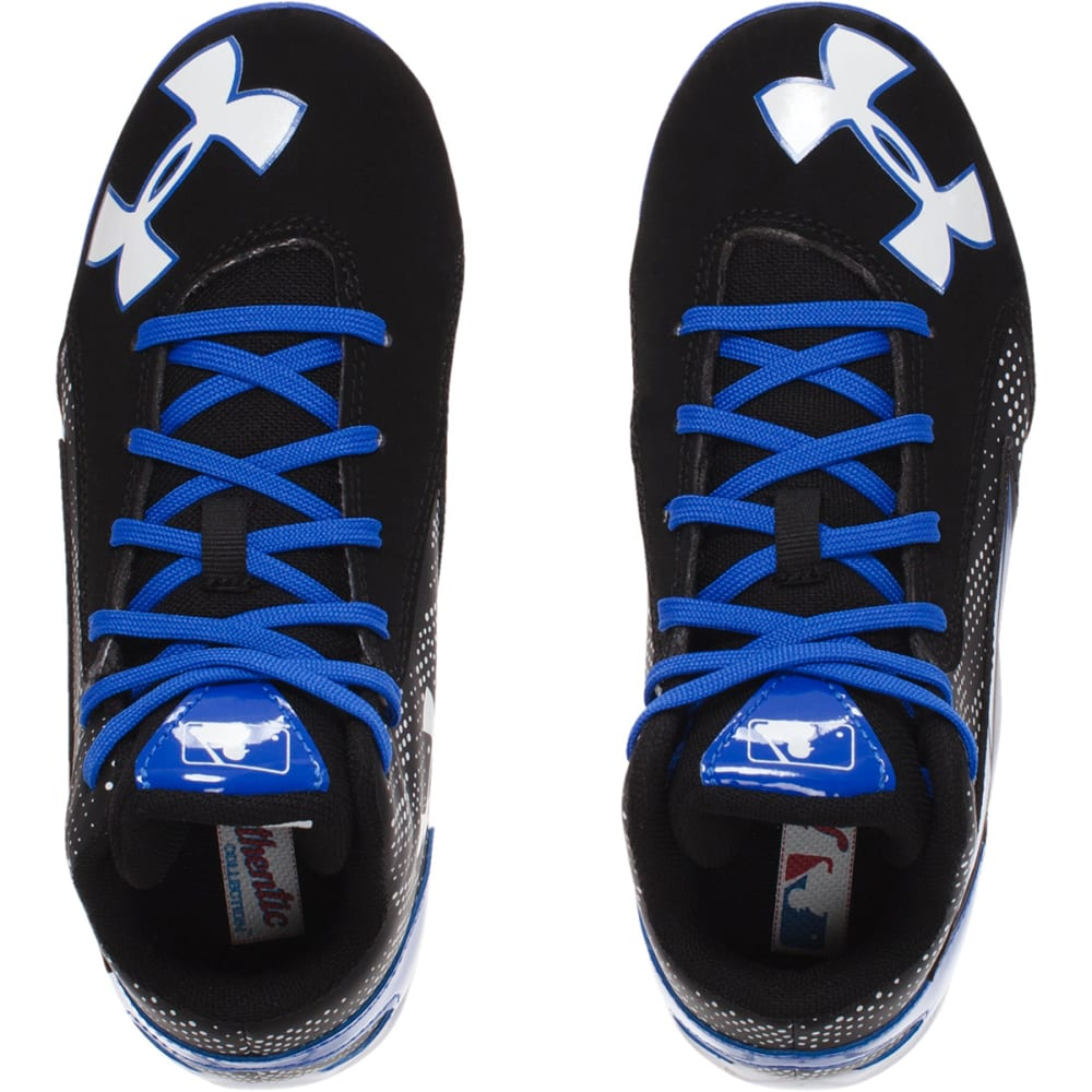 UNDER ARMOUR Boys' Leadoff Mid Jr. Baseball Cleats - BLACK/NEPTUNE