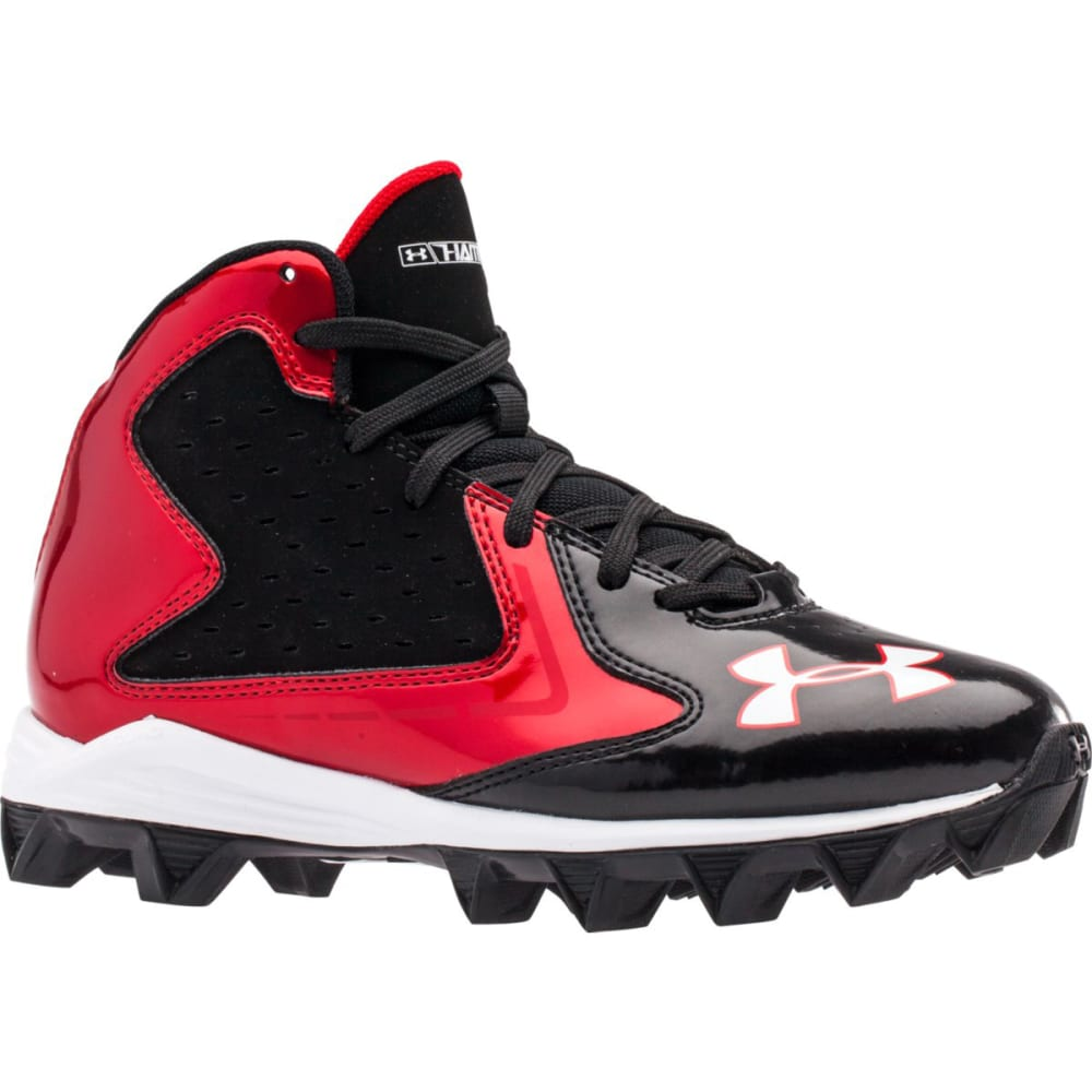 UNDER ARMOUR Boys' Hammer Mid RM Football Cleats - BLACK/RED