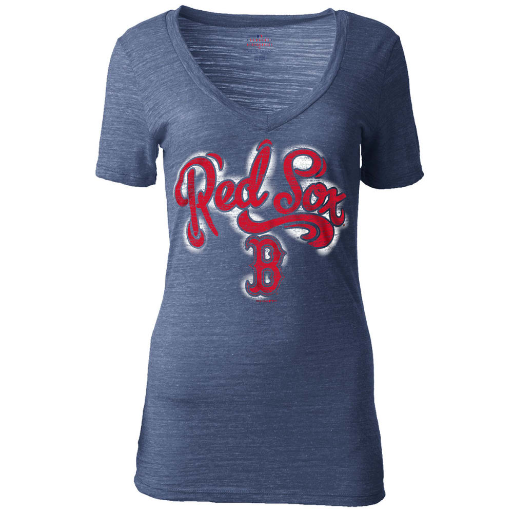 BOSTON RED SOX Women's Tri-Blend Slub V-Neck Tee - NAVY