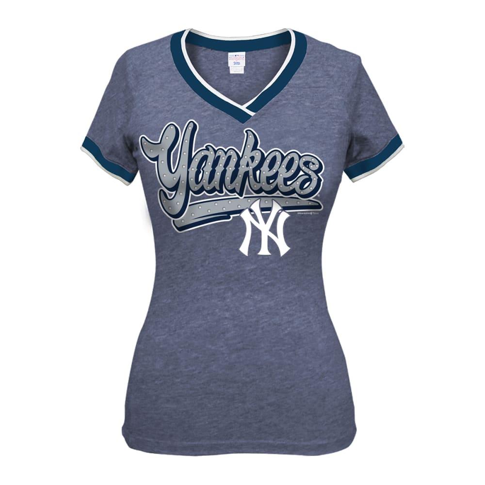 NEW YORK YANKEES Women's Sleeve Stripe Raglan Tee - NAVY