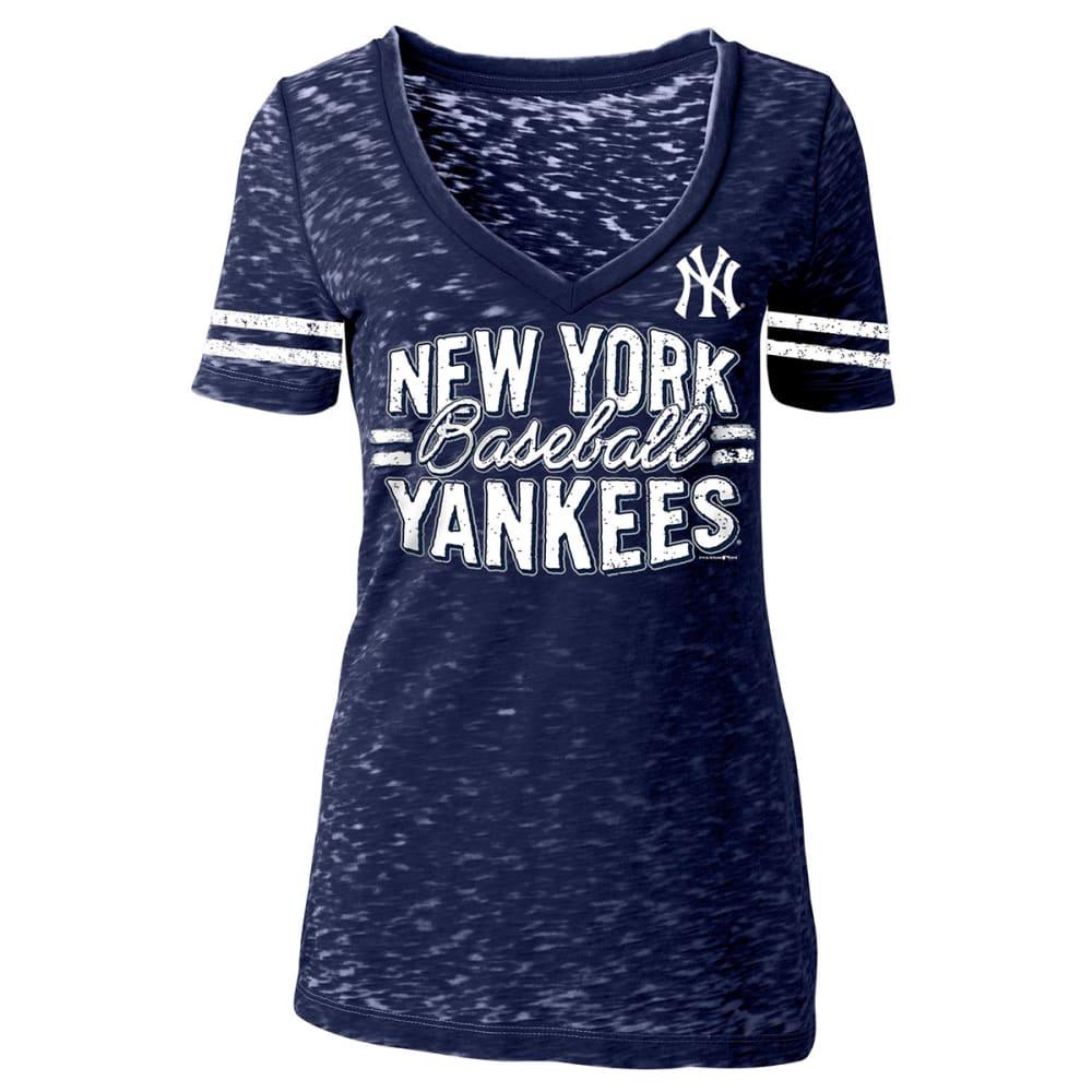 NEW YORK YANKEES Women's Burnout V-Neck Tee - NAVY