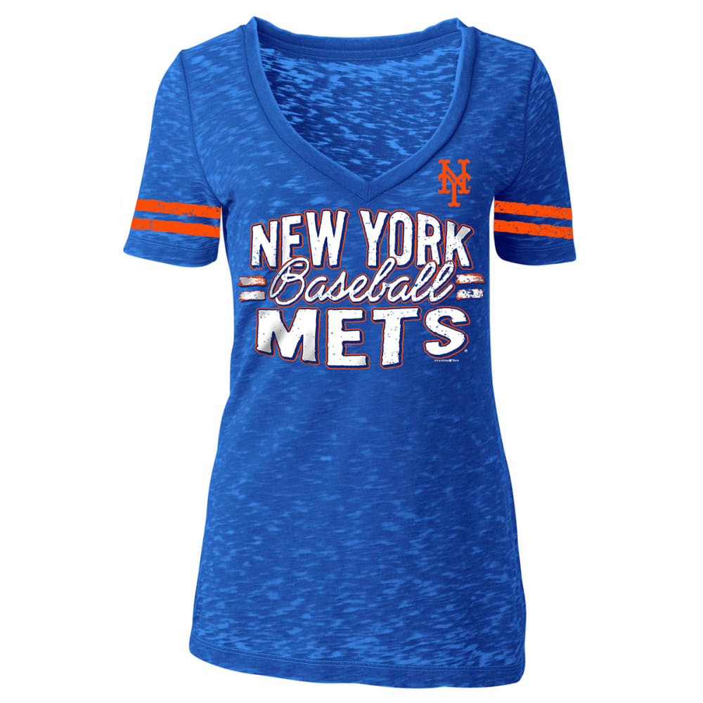 NEW YORK METS Women's Burnout V-Neck Tee - ROYAL BLUE