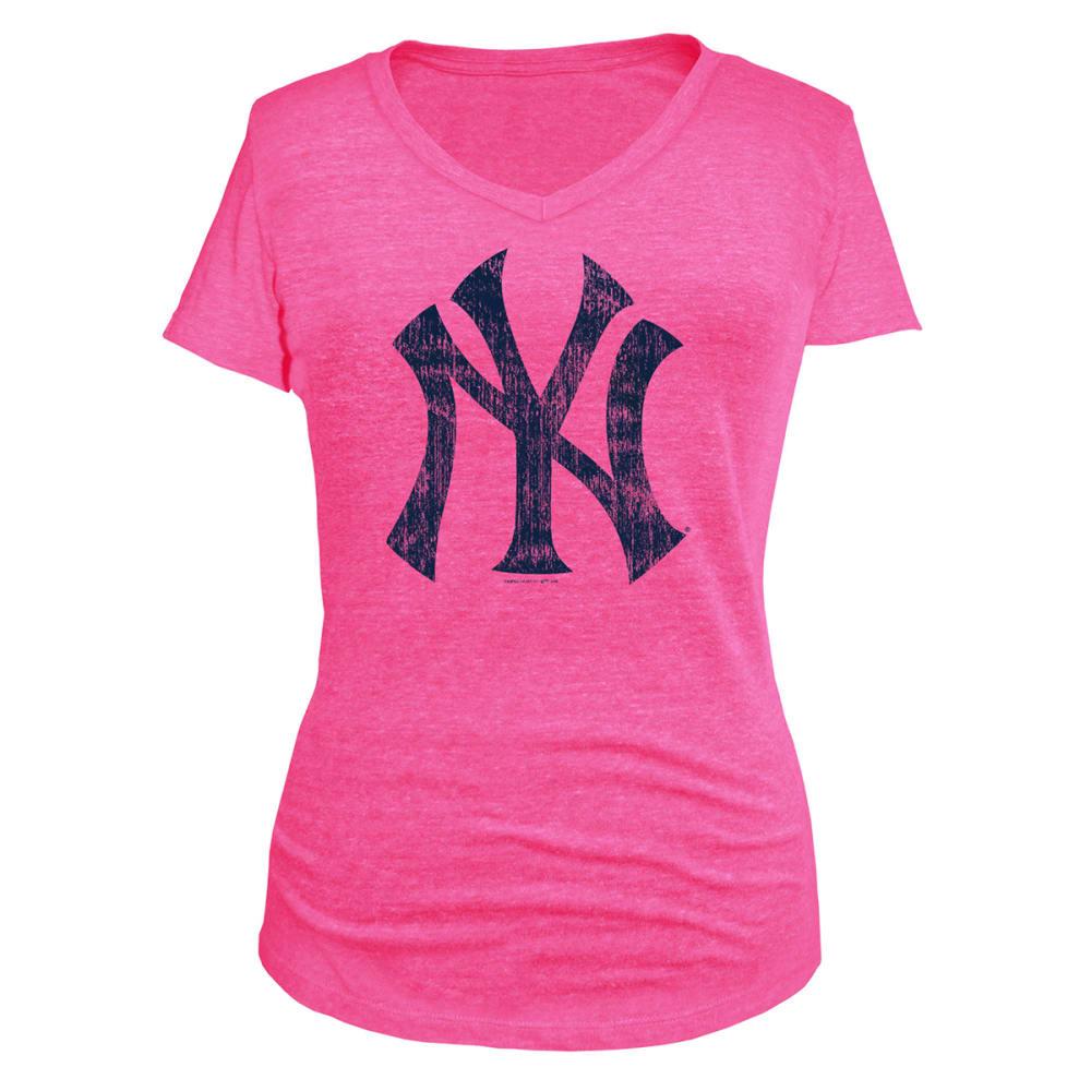 NEW YORK YANKEES Women's Logo V-Neck Tee - PINK