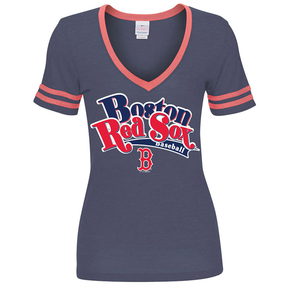 BOSTON RED SOX Women's V-Neck Tee - HEATHER NAVY