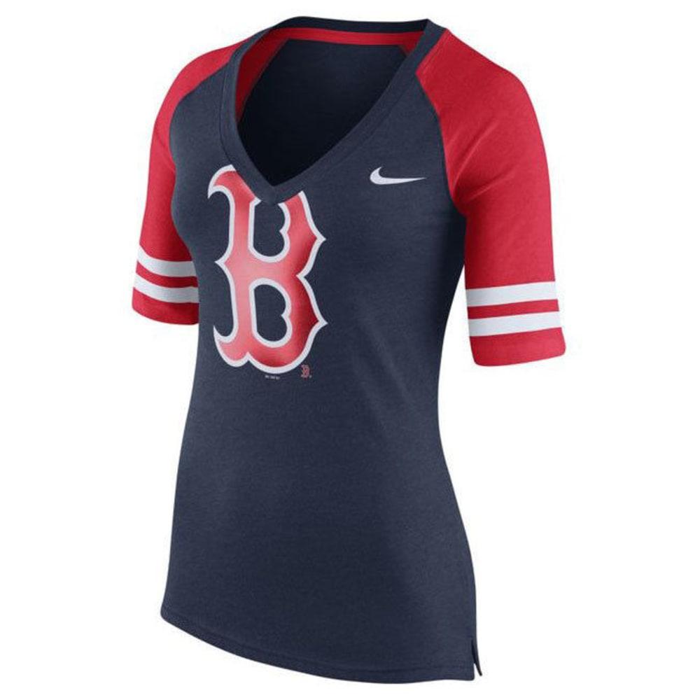 BOSTON RED SOX Women's Top Fan V-Neck Tee - NAVY