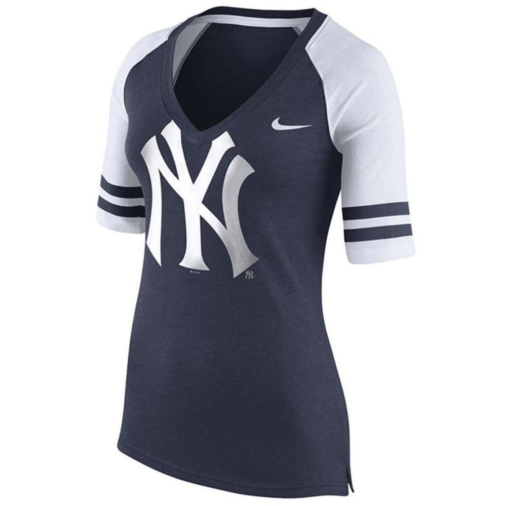 NEW YORK YANKEES Women's Nike Fan Raglan V-Neck Tee - NAVY