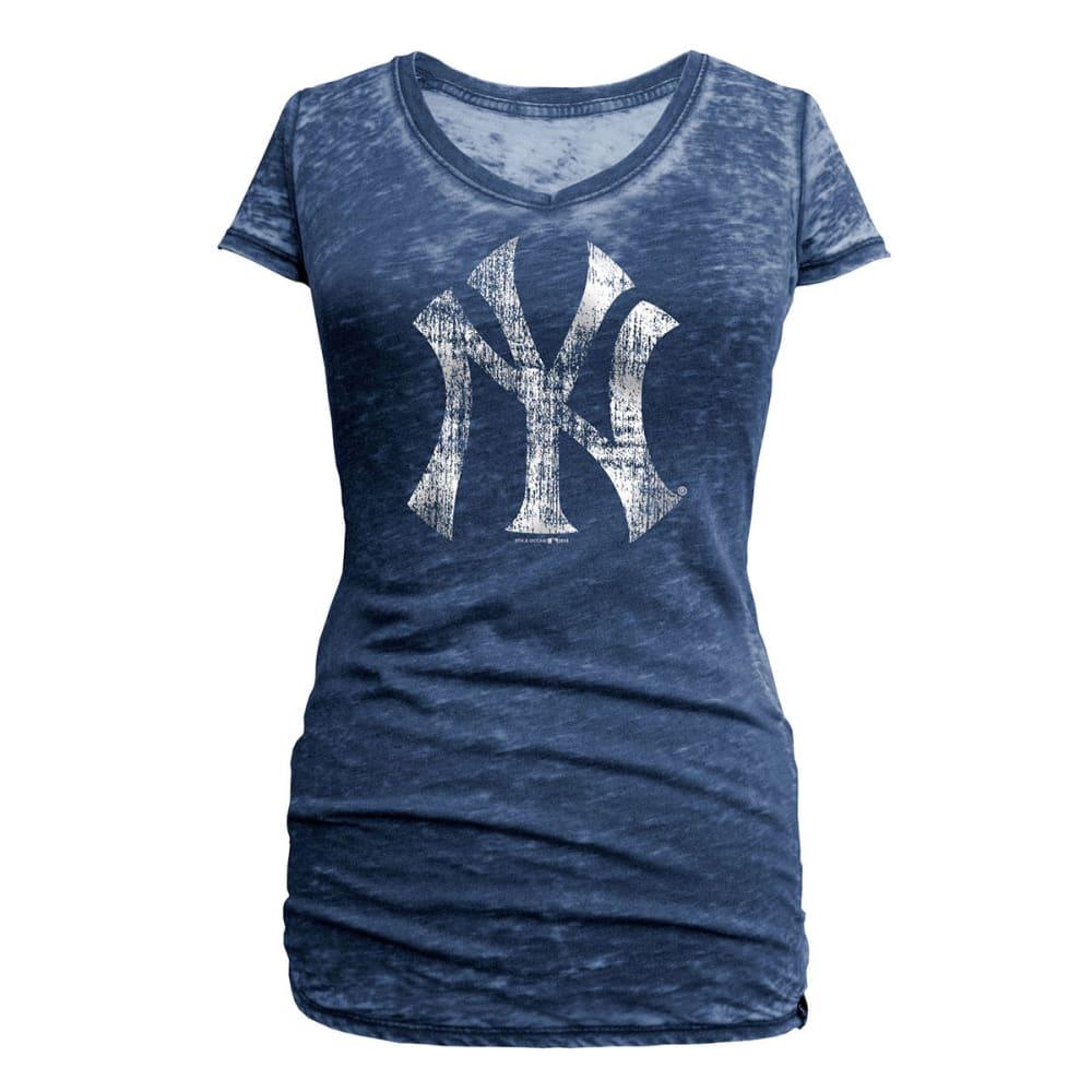 NEW YORK YANKEES Women's Logo Burnout V-Neck Tee - NAVY