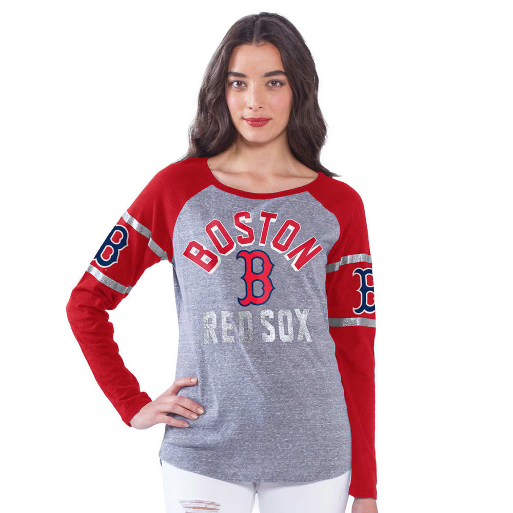 BOSTON RED SOX Women's Base Runner Long-Sleeve Raglan Shirt - GREY/RED