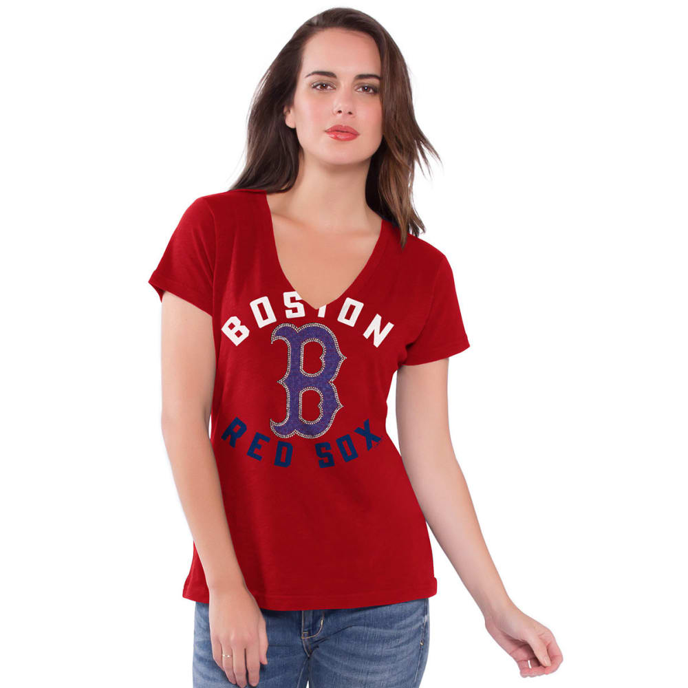 BOSTON RED SOX Women's Strike Zone V-Neck Tee - RED