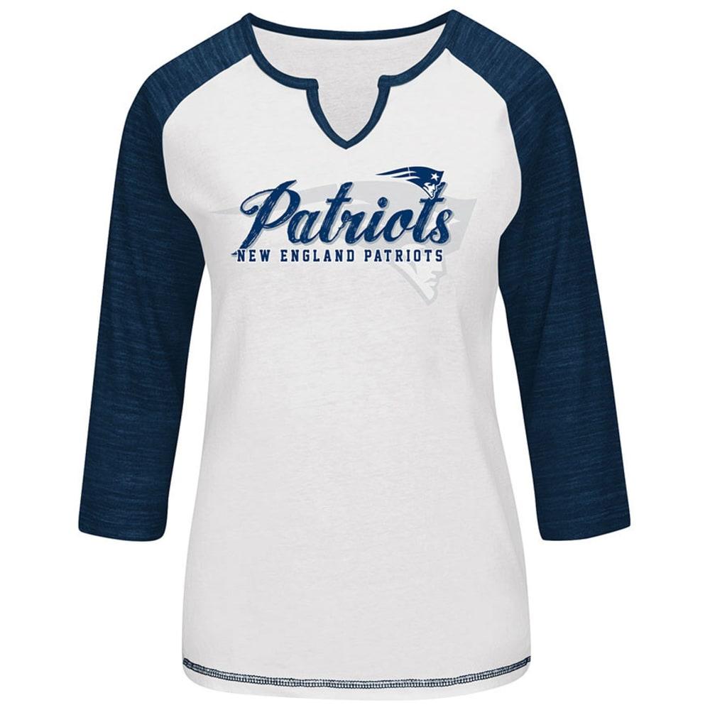 NEW ENGLAND PATRIOTS Women's Victory Is Sweet 3/4 Sleeve Raglan T-Shirt - WHITE