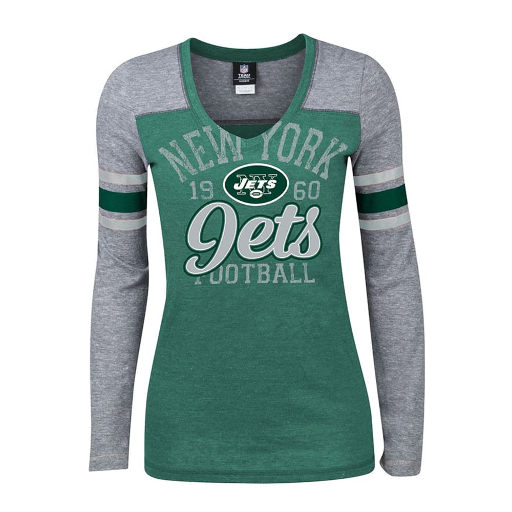 NEW YORK JETS Women's Striped V-Neck Tee - HEATHER GREEN