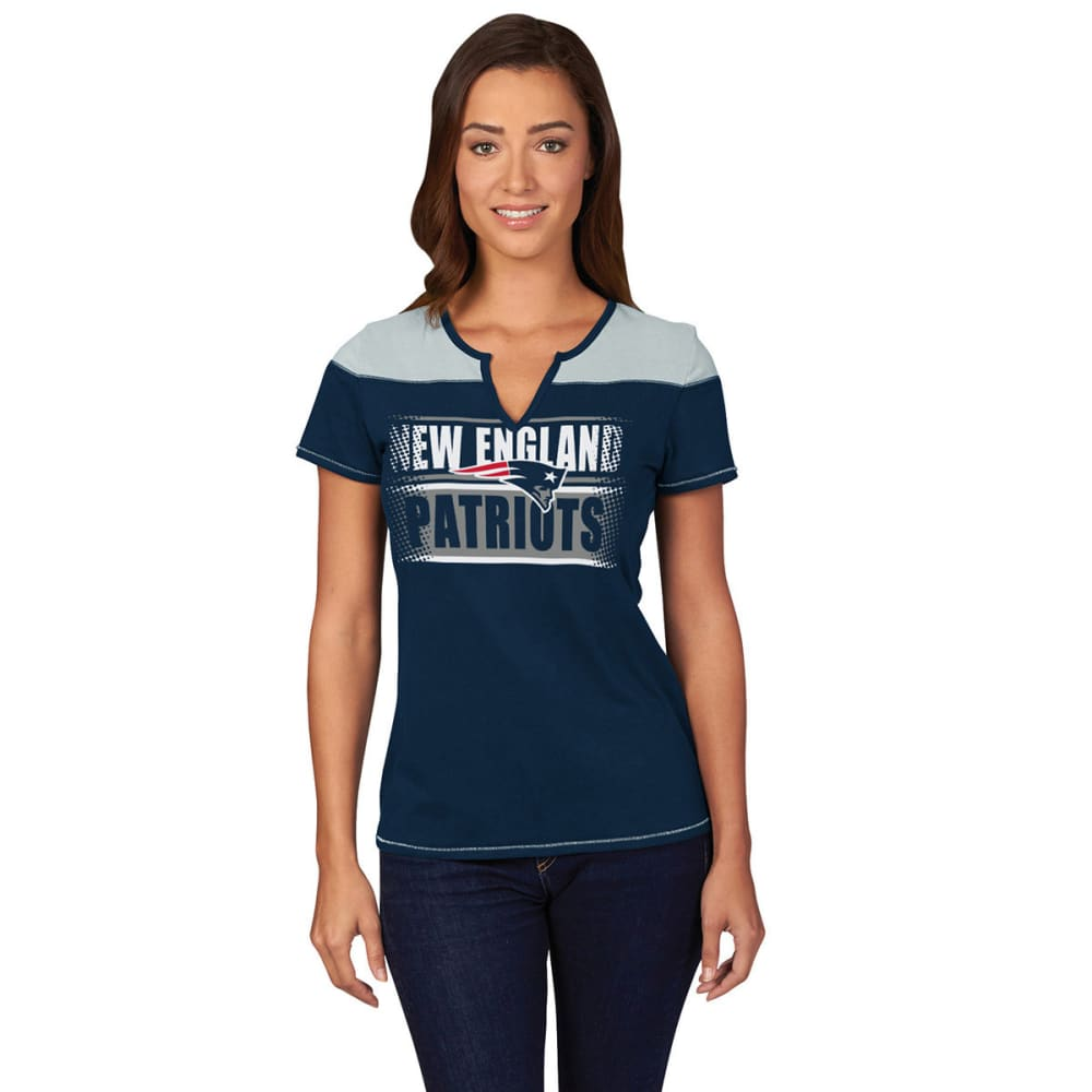 NEW ENGLAND PATRIOTS Women's Football Miracle Fashion Top - NAVY/GREY