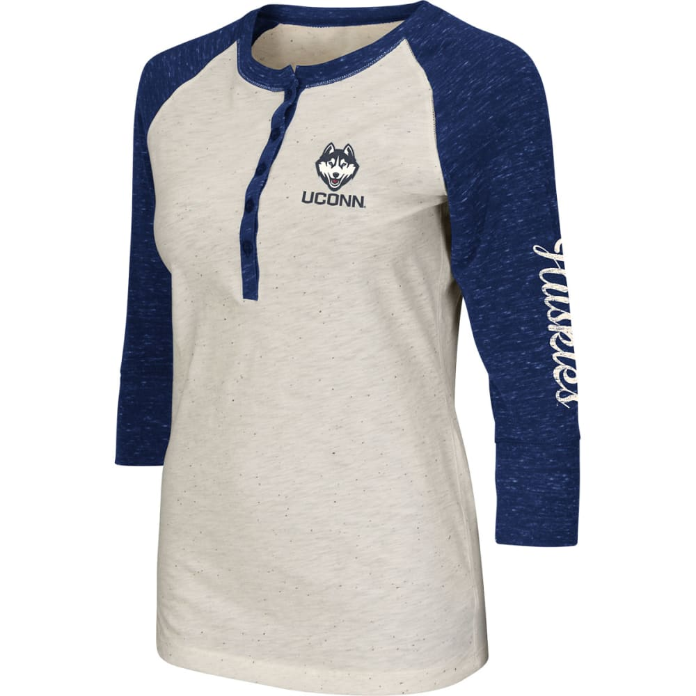UCONN HUSKIES Women's Chevelle Henley Shirt - CREAM/NAVY