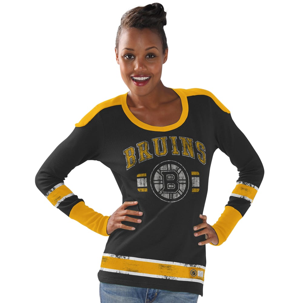 BOSTON BRUINS Women's Power Play Long Sleeve Shirt - BLACK/GOLD