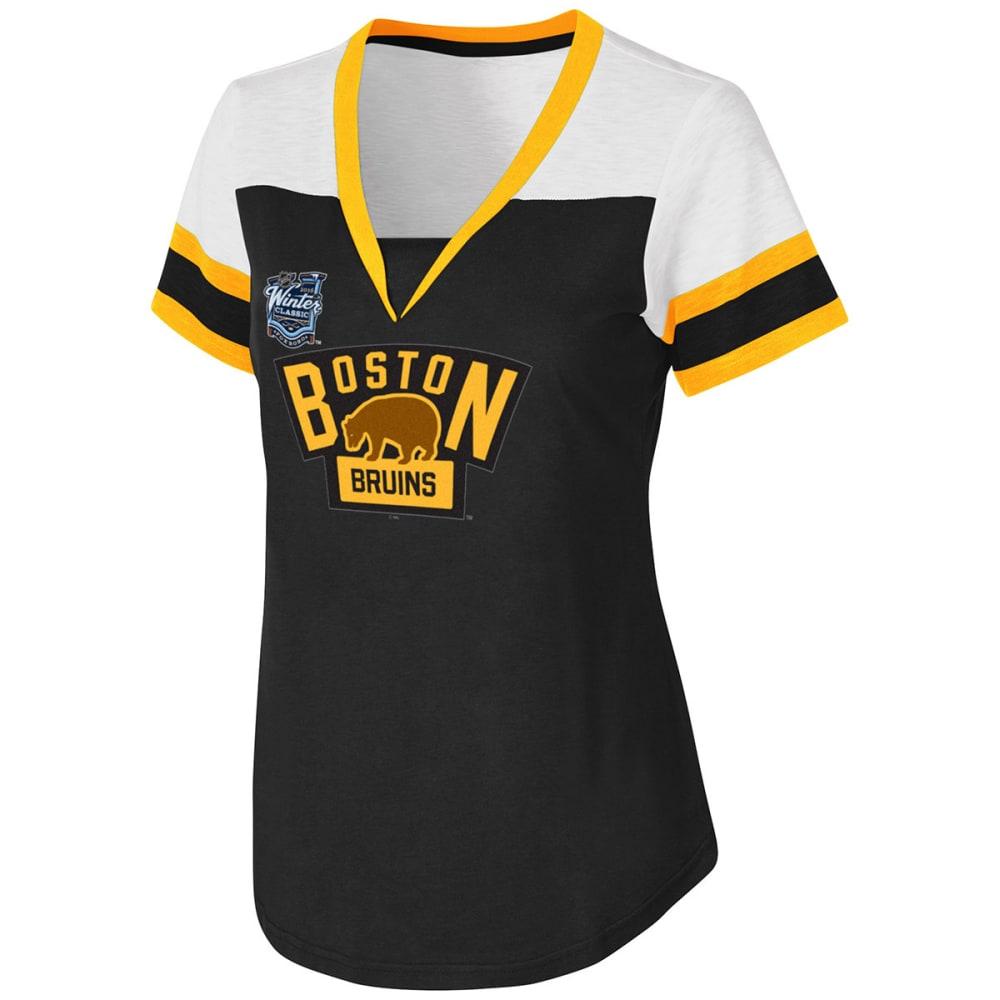 BOSTON BRUINS Women's 5-on-5 V-Neck Tee - BLACK