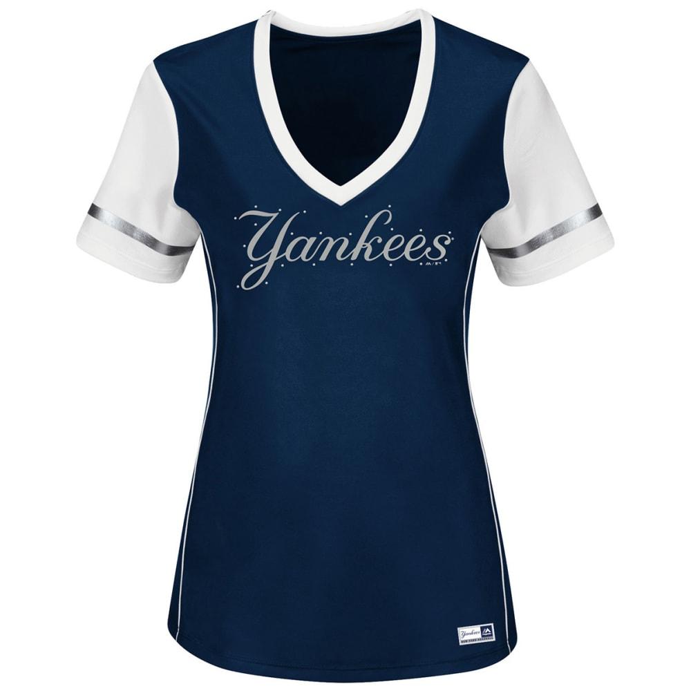 NEW YORK YANKEES Women's Curveball Babe V-Neck Jersey - NAVY