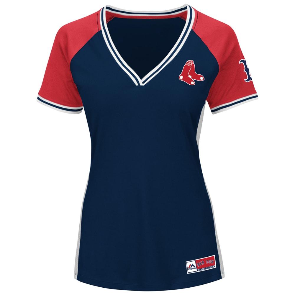 BOSTON RED SOX Women's League Diva V-Neck Jersey - NAVY