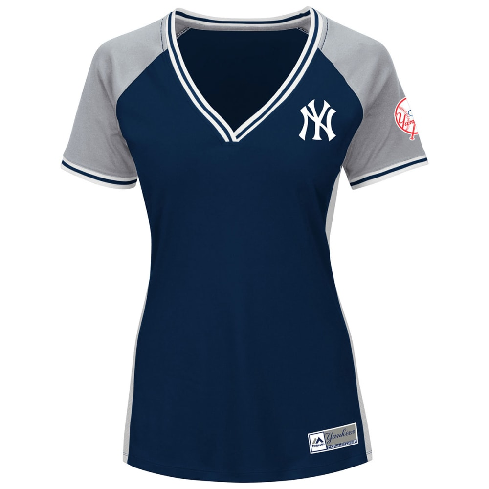 NEW YORK YANKEES Women's League Diva V-Neck Jersey - NAVY