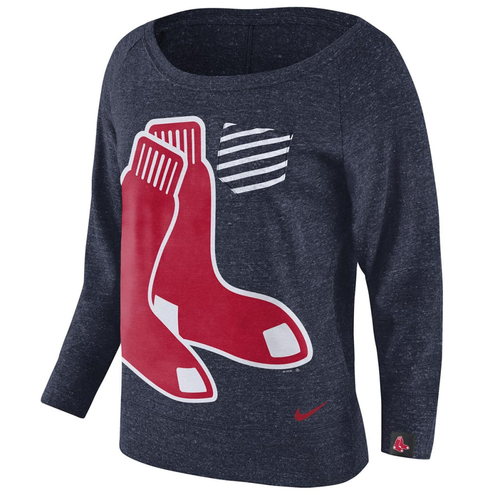 NIKE Women's Boston Red Sox Gym Vintage Crew Long-Sleeve Shirt - NAVY