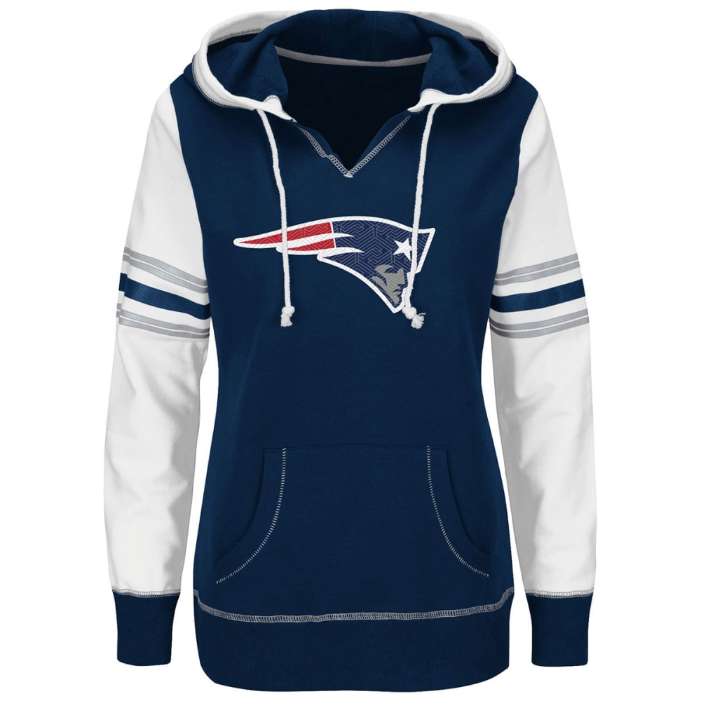 NEW ENGLAND PATRIOTS Women's Touchdown Obsession Pullover Hoodie - ROYAL/WHITE