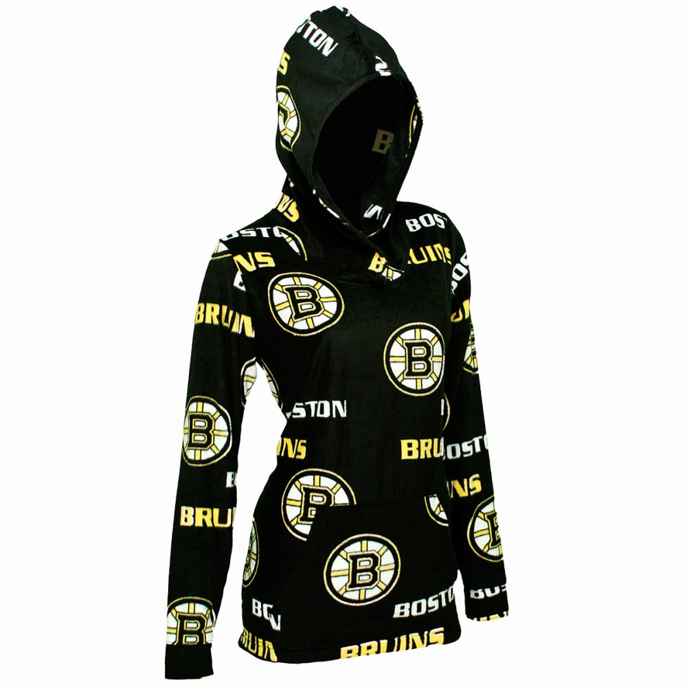 BOSTON BRUINS Women's Façade Microfleece Hoodie - EBONY/FUSHIA