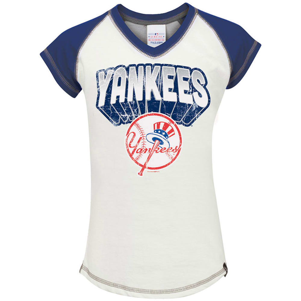 NEW YORK YANKEES Girls' Raglan V-Neck Tee  - WHITE