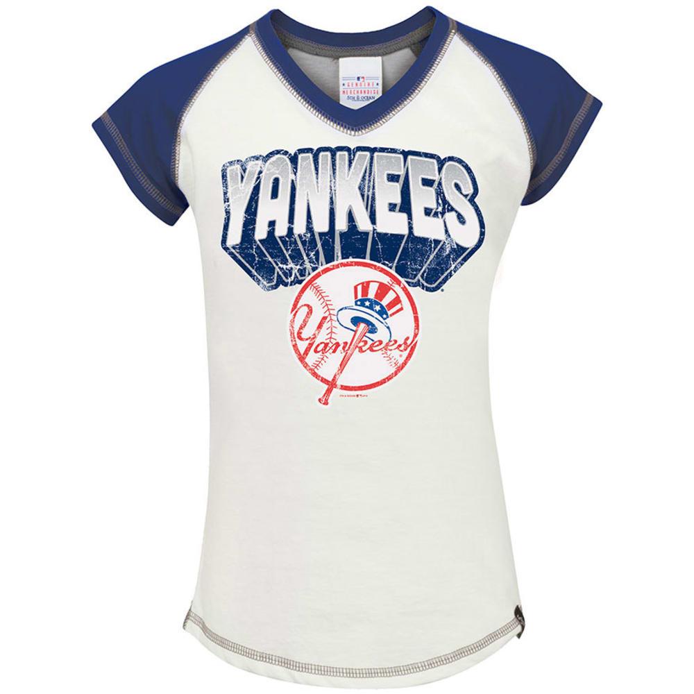 NEW YORK YANKEES Girls' Raglan V-Neck Tee - WHITE