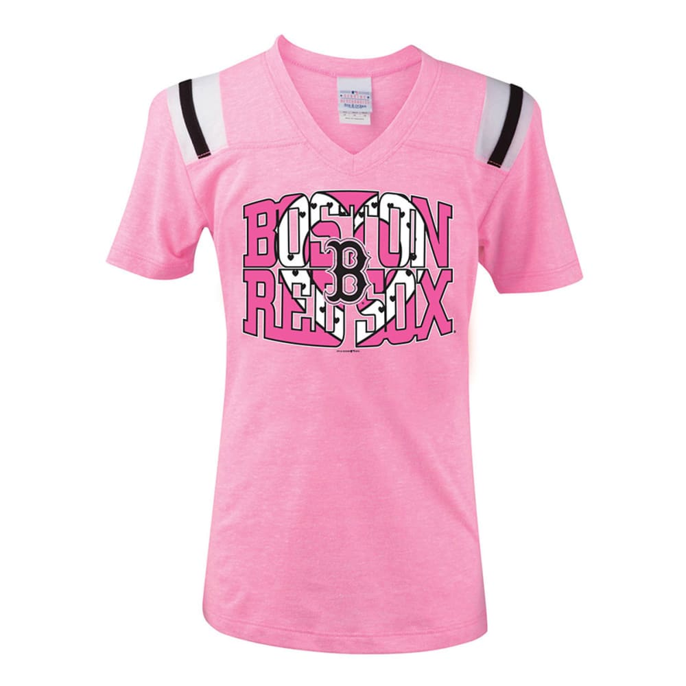 BOSTON RED SOX Girls' V-Neck Tee - PINK