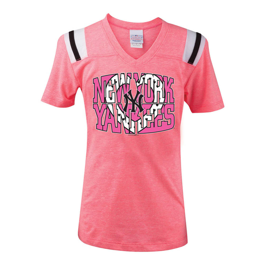 NEW YORK YANKEES Girls' V-Neck Tee - PINK