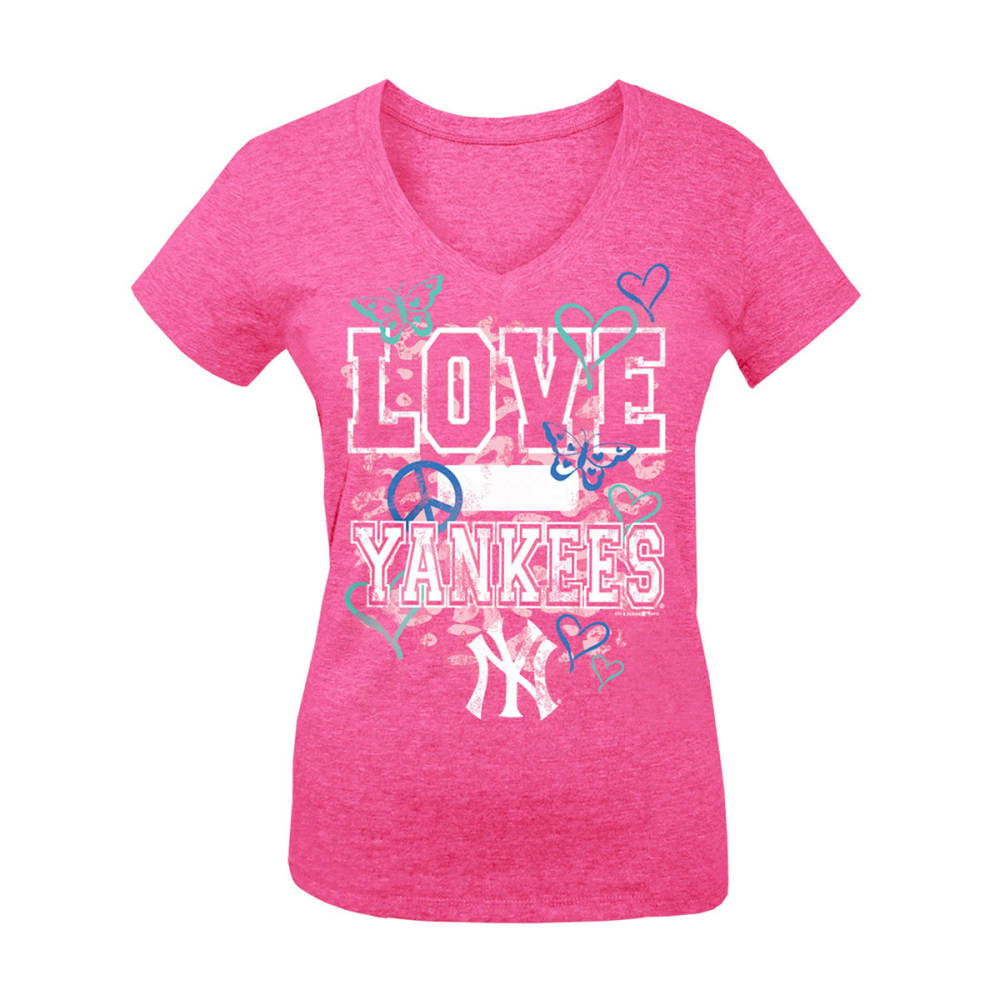 NEW YORK YANKEES Girls' Love V-Neck Tee - HEATHER PINK