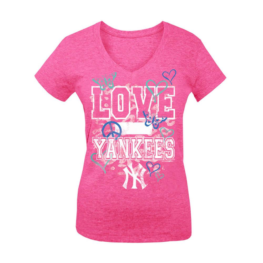 NEW YORK YANKEES Girls' Love V-Neck Tee - HEATHER PINK